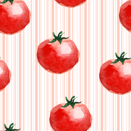 isolate: Seamless pattern made of watercolor tomato. Vector.