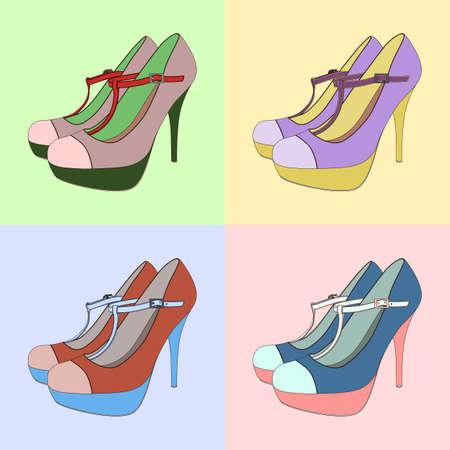 Set of colorful high heels. Illustration