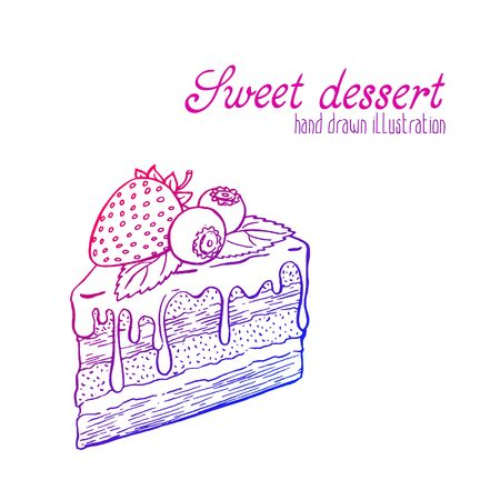Vector hand drawn illustration of pretty tasty and cute cake. Delicious dessert.