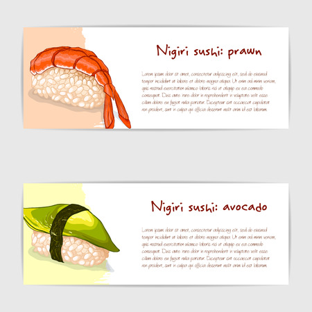 Vector gift cards of nigiri sushi with prawn and avocado. Illustration