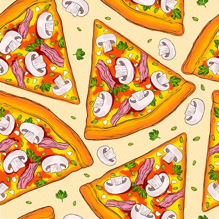 おいしいきのこピザのスライスのシームレスなパターン。  イラスト・ベクター素材