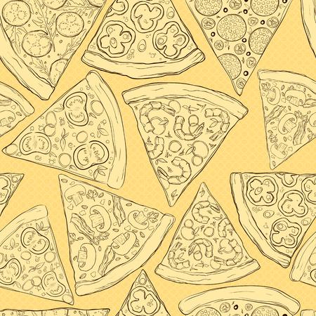 おいしいピザのスライスのシームレスなパターン。  イラスト・ベクター素材