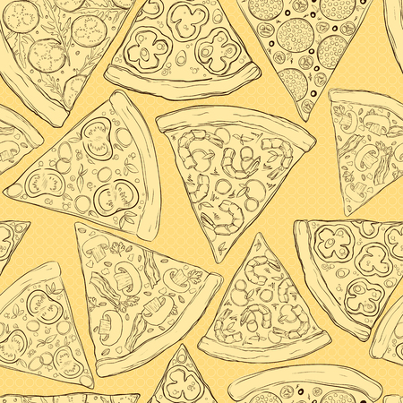 Seamless pattern made of tasty pizza slices.