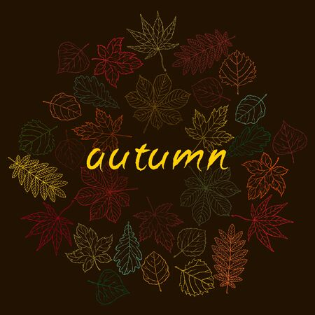 aspen leaf: Hand drawn cute autumn leaves. Tiny and colorful.
