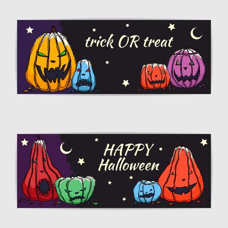 spook: Hand drawn vector halloween cards with  jack olantern pumpkins. Illustration