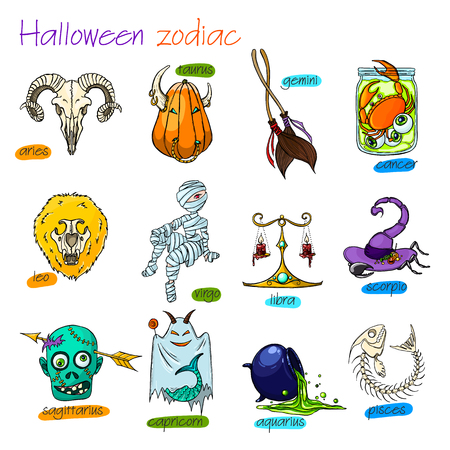 Bunte und lustige Halloween-Tierkreiszeichen. Alle Elemente. Vektorgrafik
