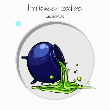 zodiac aquarius: Colorful and funny halloween zodiac sign. Air element.