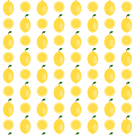 Seamless pattern made of cute and colorful flat lemon. Illustration