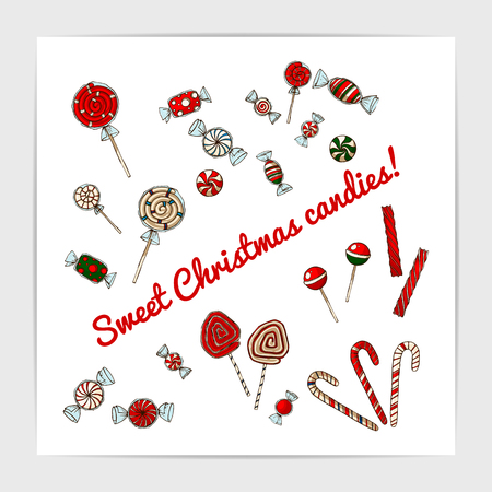 Pretty and cute set of sweet hand drawn christmas candies.