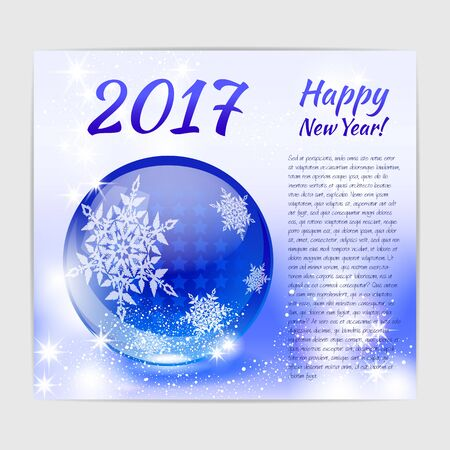 New Year greeting card with shiny glossy glass ball with snowflake print on it. Иллюстрация