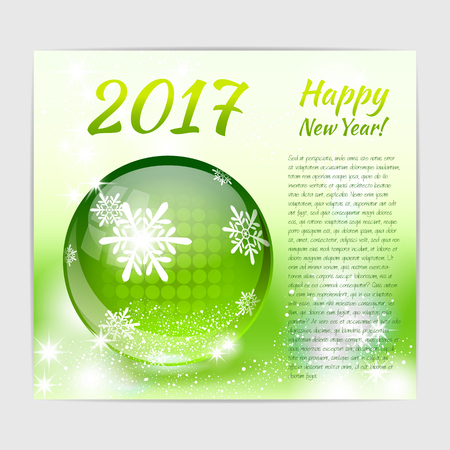 New Year greeting card with shiny glossy glass ball with snowflake print on it. Illustration