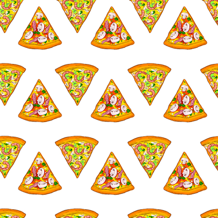 Cute seamless pattern made of yummy pizza slices with mushrooms, prawns and bacon.