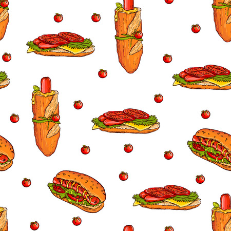 Seamless pattern made of yummy hand drawn hot dogs and cherry tomatos. Colorful and tasty.