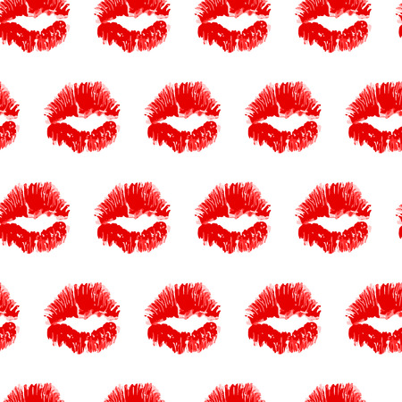 Cute seamless pattern made of pretty red kisses. Ilustrace