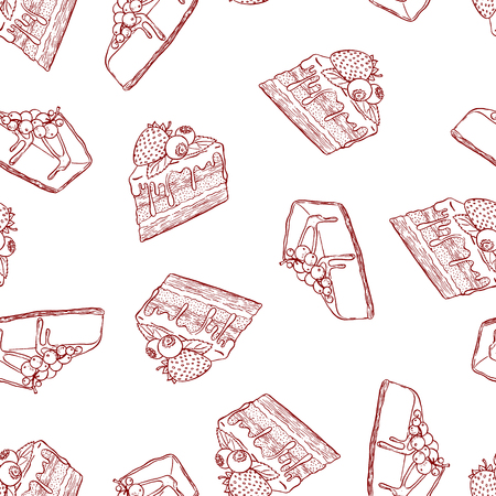 cheesecake: Cute seamless pattern made of hand drawn cakes. Illustration