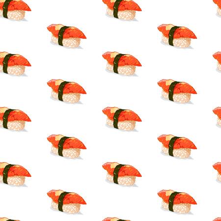 Cute seamless pattern made of pretty unagi sushi.
