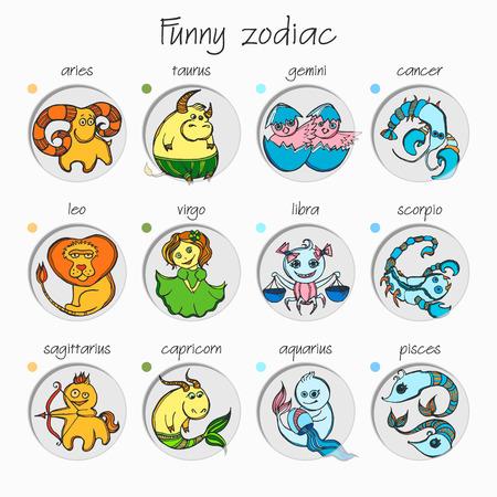 Set of twelve funny zodiac signs.