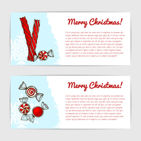 Cute christmas gift cards with sweet hand drawn candy.
