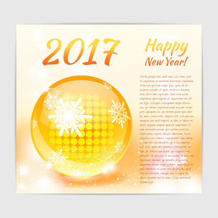 New Year greeting card with shiny glossy glass ball with snowflake print on it. Ilustração