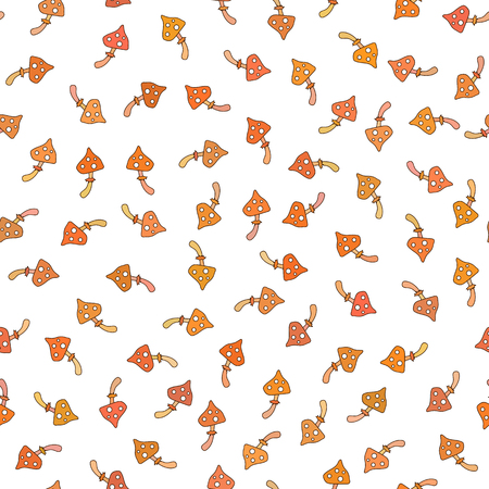 Cute seamless pattern made of fairy tale frogs and mushrooms.