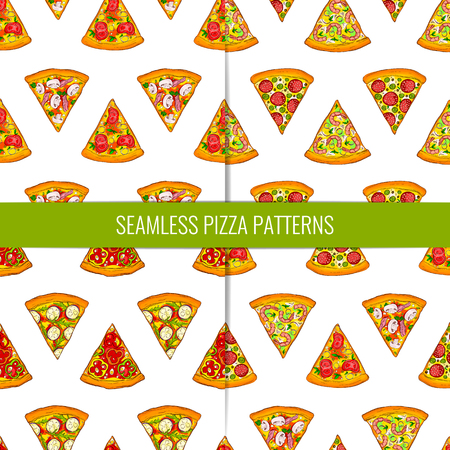 Set of 4 seamless patterns made of different tasty pizza slices. Hand drawn and bright colored.