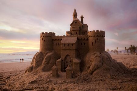 Venice Beach sandcastle at sunset 版權商用圖片