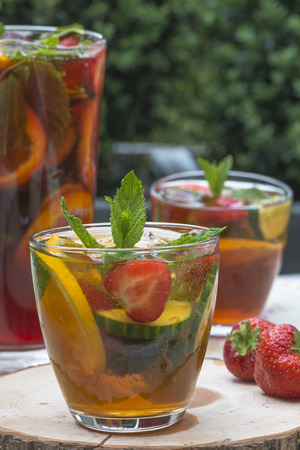 Refreshing PImms cocktail with lemonade Stock Photo - 42187521