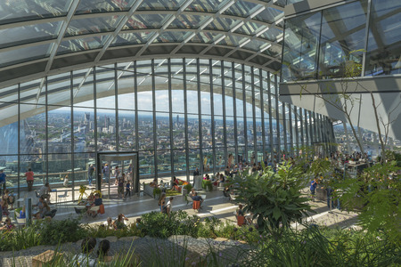 garden features: LONDON, UK - JULY 4, 2015: The Sky Garden at 20 Fenchurch Street is a unique public space designed by Rafael Vinoly Architects. It features a stylish restaurant; brasserie and cocktail bar