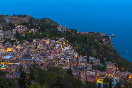 taormina: View of Taormina at dusk, Sicily Stock Photo
