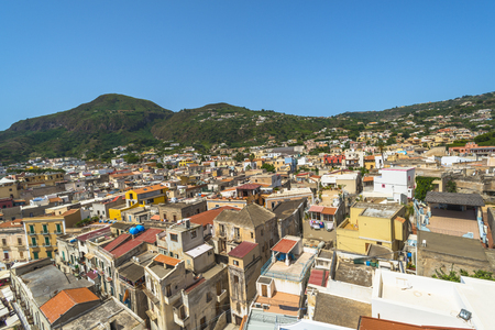 lipari: View of Lipari town on the island of Lipari near Sicily Stock Photo