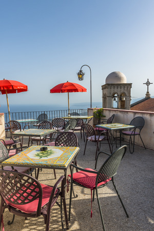 sitting area: Rooftop sitting area in Castelmola, Sicily Stock Photo