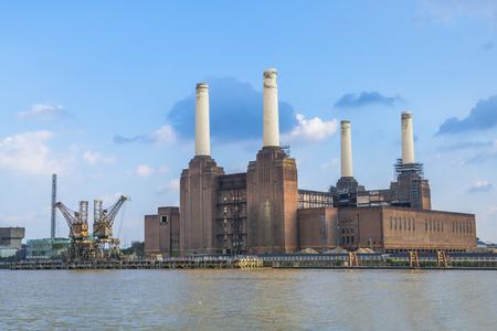 battersea: View of abandoned Battersea power station across river Thames, London, UK