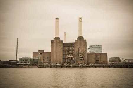 industrial heritage: Battersea Power Station in London England UK - vintage look