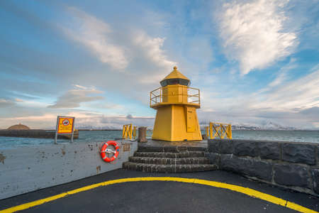 navigational light: Navigational light in the harbor in Reykjavik, Iceland
