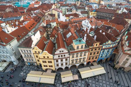 Aerial view of the Old Town Square in Prague, Czech Republic
