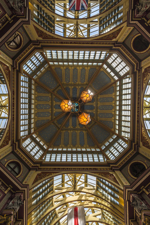 horace: LONDON, UK - JUNE 08, 2014: Inside view of Leadenhall Market, Gracechurch Street. The building was designed at the end of the 19h century by Sir Horace Jones and renovated In the early of 1990s