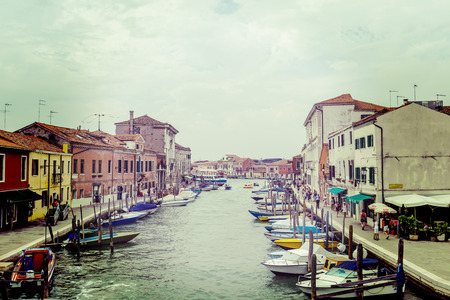 Murano: View of a canal on Murano Island in Venice lagoon, Italy - vintage look Stock Photo