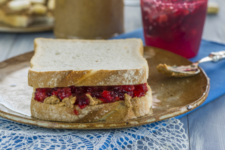 jelly sandwich: Peanut butter and jelly sandwich Stock Photo