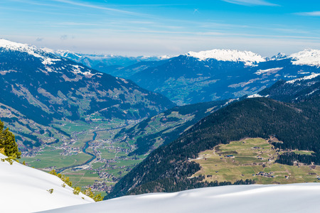 valley view: View of Mayrhofen in the Ziller Valley from top of Ahorn mountain Stock Photo