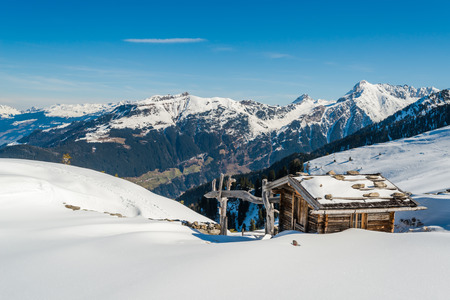ski lodge: Austrian Alps in the winter, Mayrhofen ski resort - panoramic view Editorial