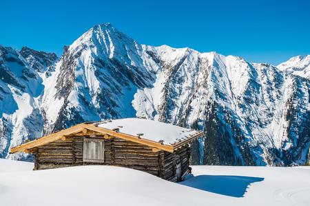 ski lodge: A ski lodge in Austrian Alps in the winter, Mayrhofen ski resort - panoramic view