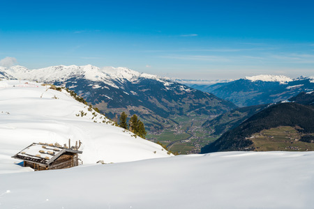lodge: A ski lodge in Austrian Alps in the winter, Mayrhofen ski resort - panoramic view