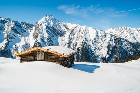 ski lodge: Ski lodge in Austrian Alps in the winter, Mayrhofen ski resort - panoramic view Editorial