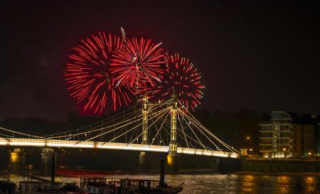 Fireworks display on 5th November - Guy Fawkes Night - over Albert Bridge, London UK