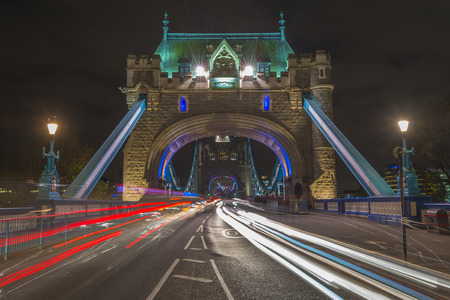 light trails: Traffic light trails on Tower Bridge in London at night