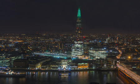 public space: LONDON, UK - DECEMBER 19, 2015: Night view of London cityscape. The Sky Garden at 20 Fenchurch Street is a unique public space that offers 360 degree uninterrupted views across the City of London
