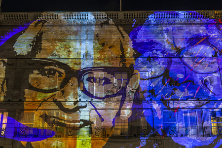 piccadilly: LONDON, UK - JANUARY 14, 2016: As part of Lumiere London, award-winning creative studio NOVAK have created 195 Piccadilly a projected exhibition using images from BAFTA photography archive