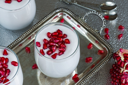 mascarpone: Mascarpone mousse dessert with pomegranate Stock Photo