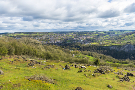 derbyshire: English countryside and Matlock town seen from Heights of Abraham, Derbyshire, UK