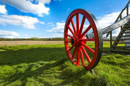 distinctive: A distinctive red wheel of Pitstone windmill, Hertfordshire, UK